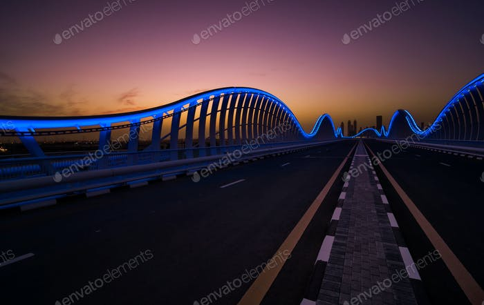 Amazing night dubai VIP bridge with beautiful sunset. Private ro