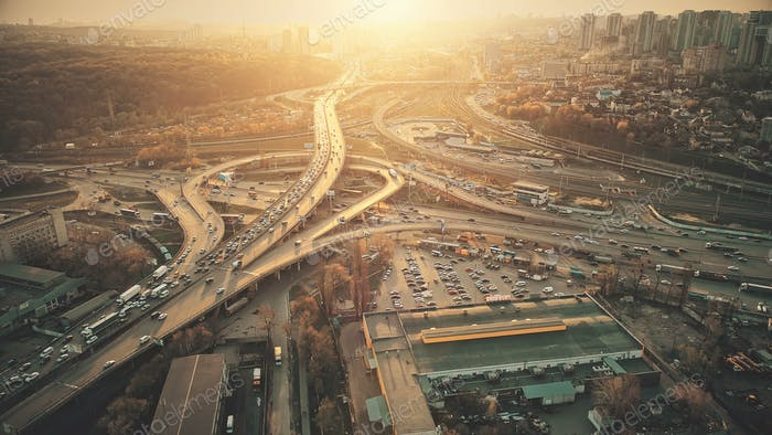 City road system sight traffic jam aerial view