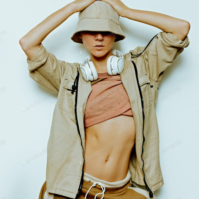Urban Fashion Model. Hip Hop Street Dance DJ style.