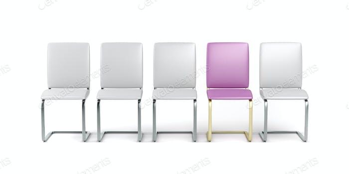 Einzigartiger rosafarbener Stuhl