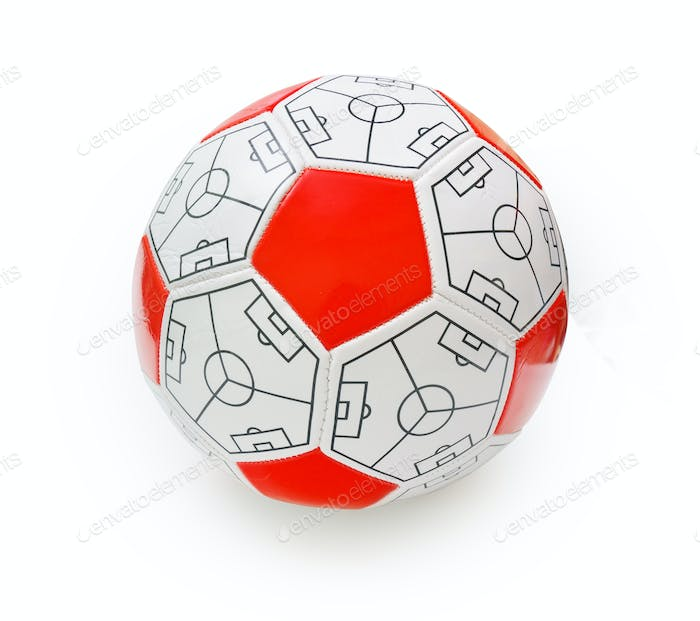 Red isolated soccer ball