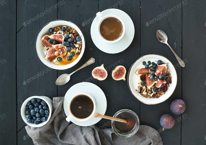 Thumbnail for Healthy breakfast set. Bowls of oat granola with yogurt