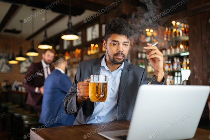 People, nicotine alcohol addiction and bad habits concept