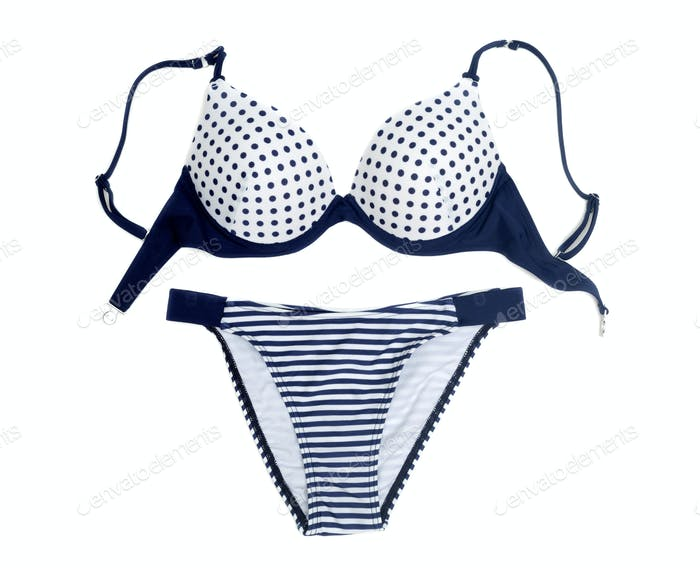 Blue polka dot bra and panties set.