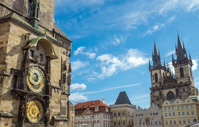 Astronomical clock and church