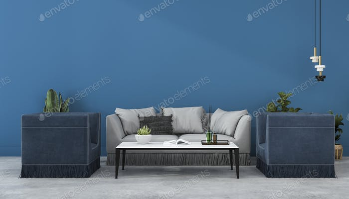 3d rendering mock up scandinavian blue wall and sofa in living room with armchair