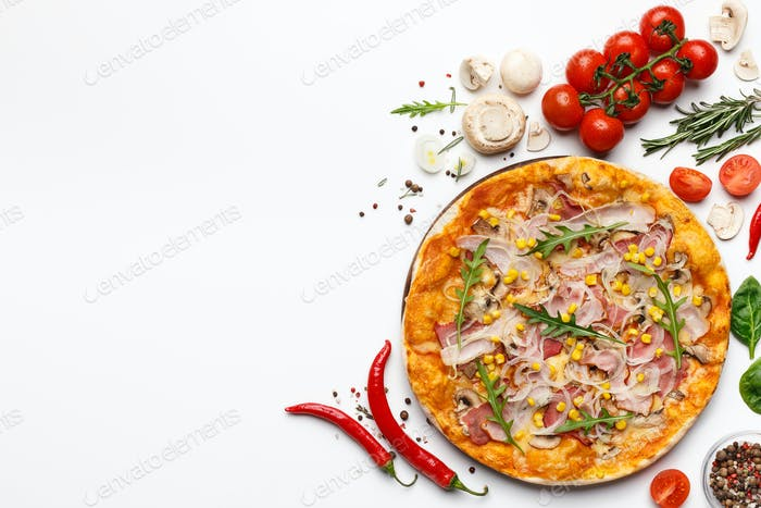 Pizza With Ham And Rocket Salad On White Background With Ingredients Around