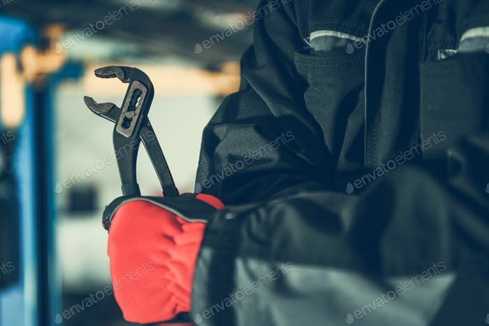 Mechanic with Iron Wrench