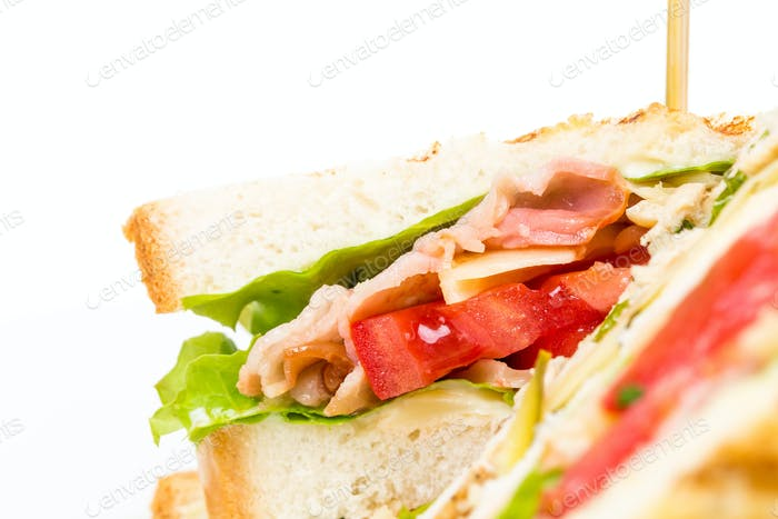 Traditional grilled club sandwich with chicken.