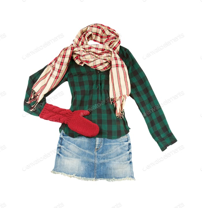 Lumberjack miniskirt fashion look