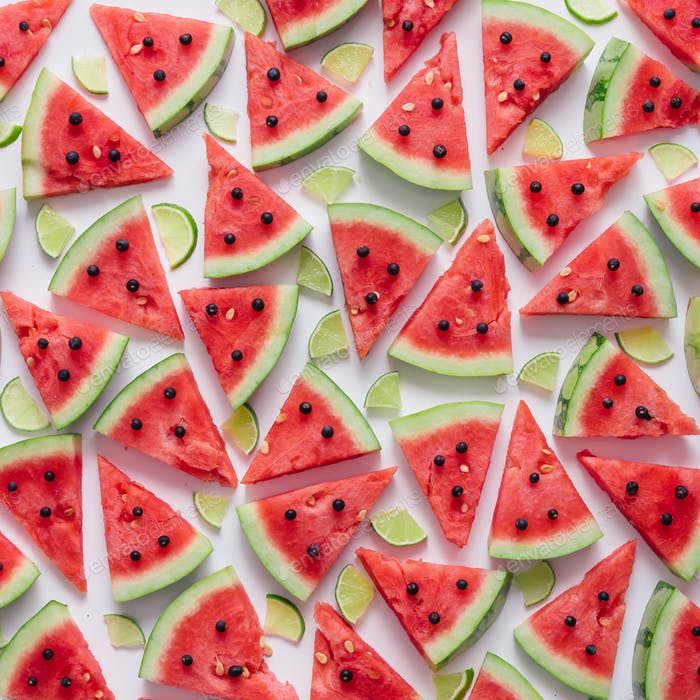 Watermelon and lime slices pattern.