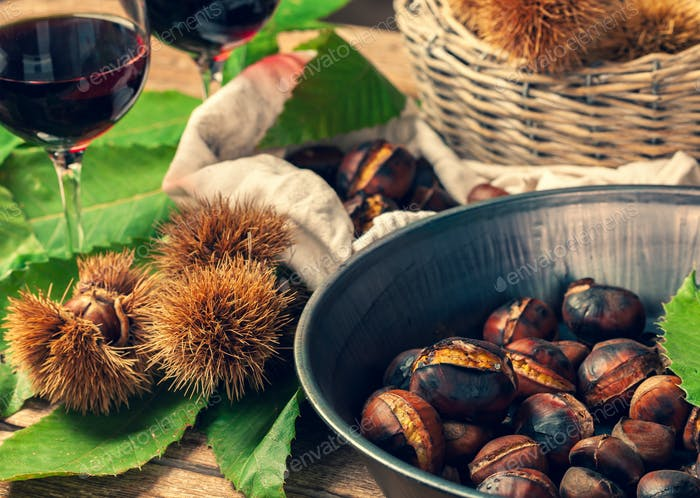 Roasted chestnuts in iron skillet