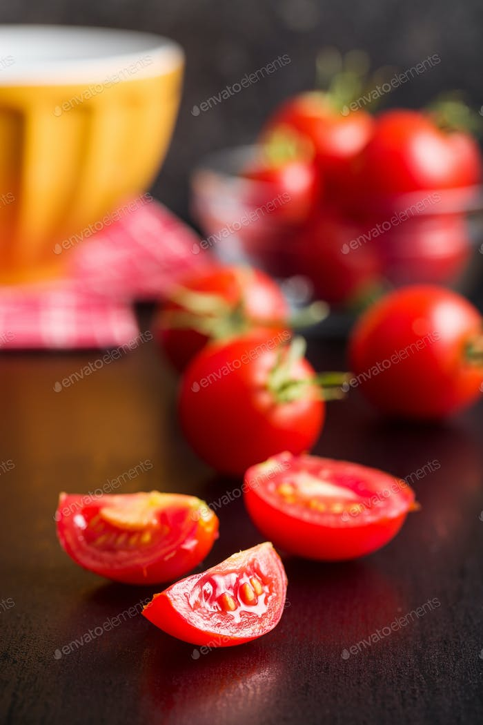 Sliced red tomatoes.