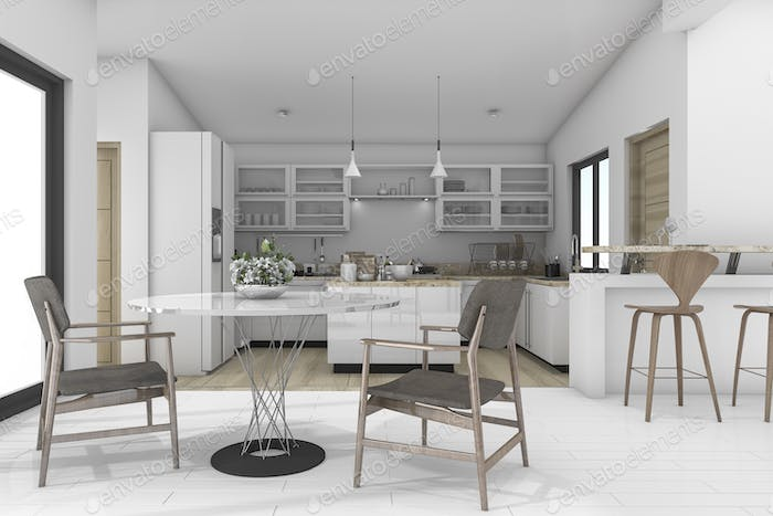 3d rendering dining zone in contemporary kitchen