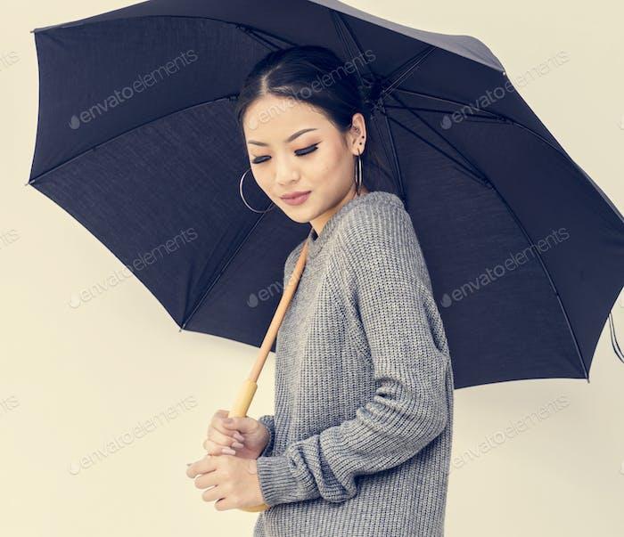 Asian woman holing umbrella on white background