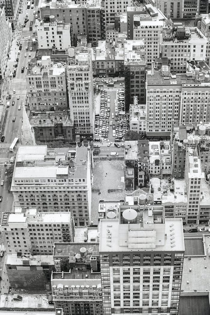 Black and white aerial picture of Manhattan, New York, USA.