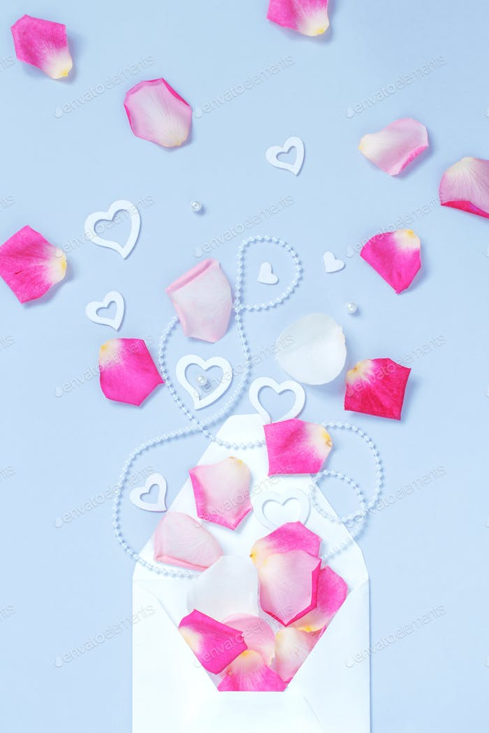 Envelope with petals and hearts