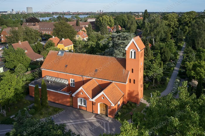 Aerial view of Roedovre church located on Zealand in Denmark