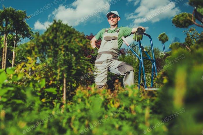 Happy Caucasian Gardener