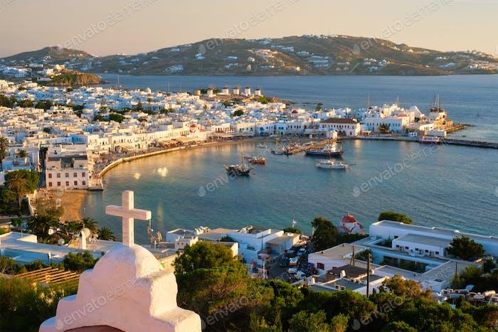 Mykonos island port with boats, Cyclades islands, Greece
