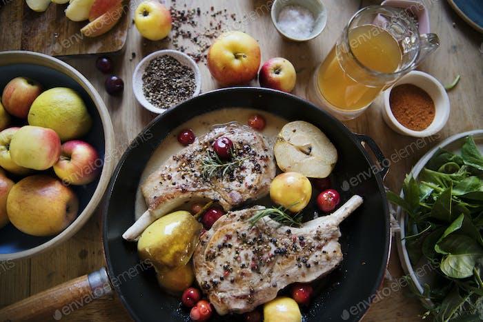 Pork chop with apples food photography recipe idea