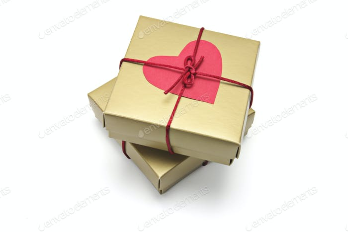 Red Heart Symbol on Gift Boxes