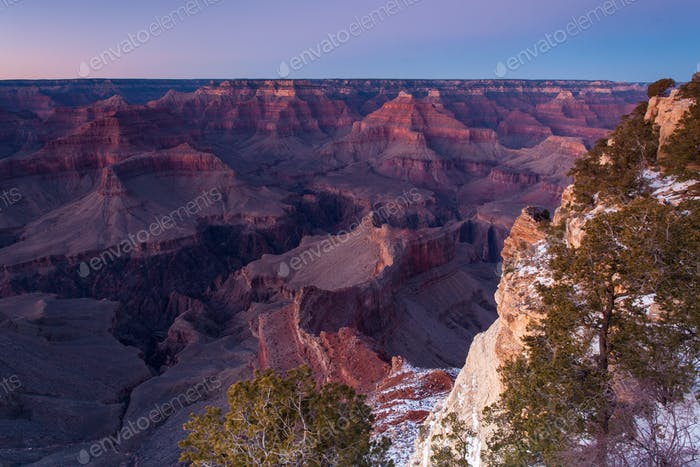 Grand Canyon in winter at dusk