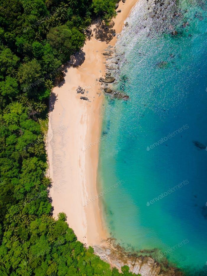 Aerial view of Laem Sing beach with beautiful sea, Phuket island, Thailand