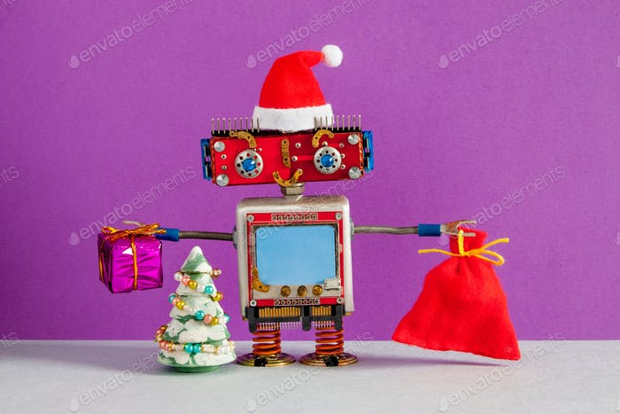 Happy Santa Claus robot with a bag of gifts.