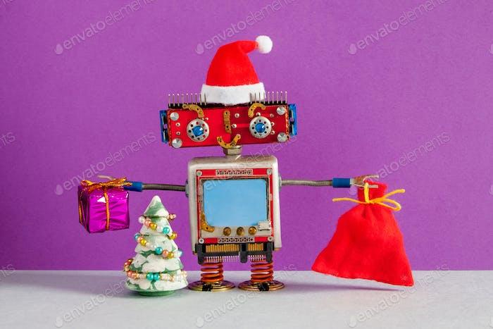 Glücklicher Weihnachtsmann Roboter mit einer Tüte mit Geschenken.