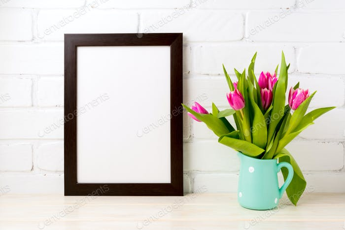 Black brown  frame mockup with rich pink tulips
