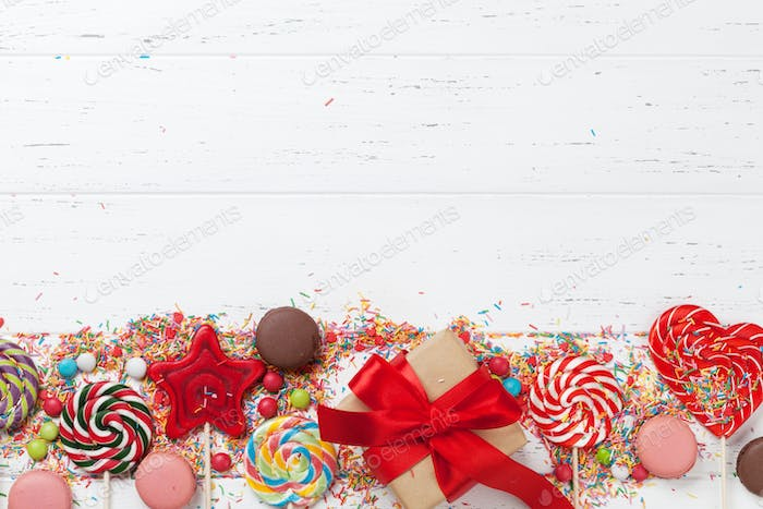 Colorful sweets and gift box