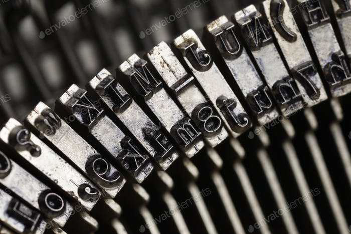 Old typewriter letters macro shot