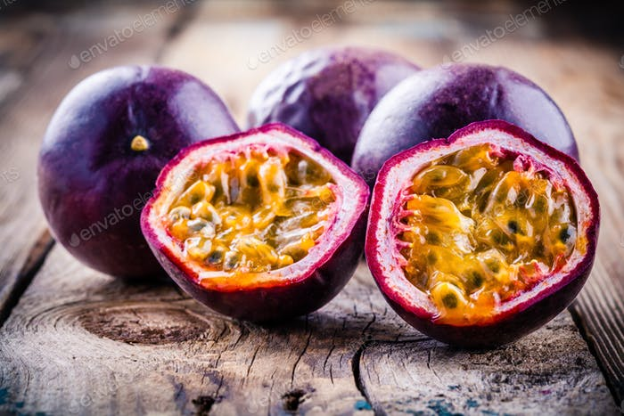ripe organic passion fruit
