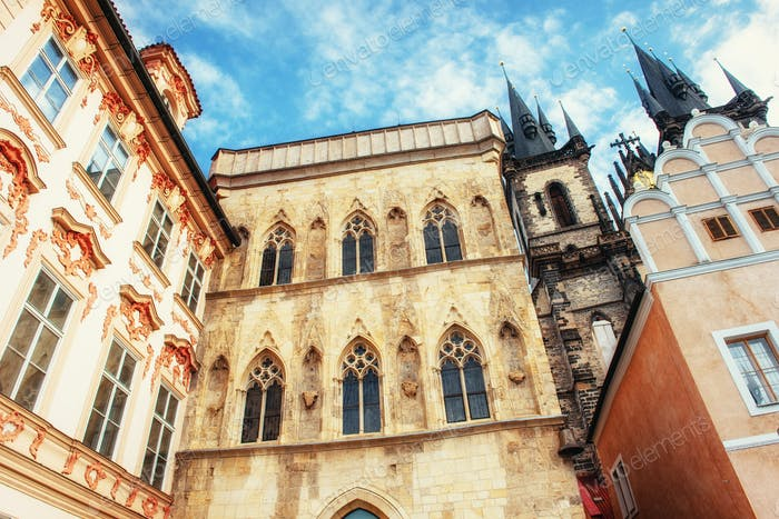 view of the Tyn Church in Prague. Czech Republic.