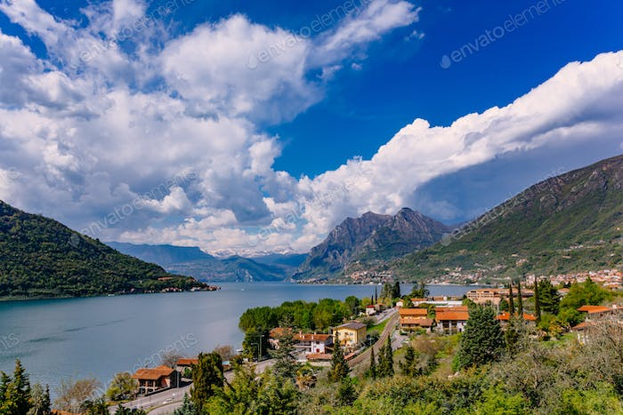 View of Lake Iseo, Italy, the Alps.