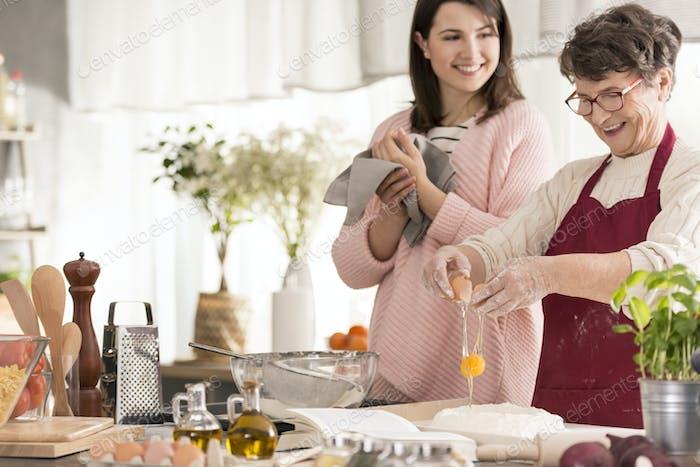 Grandma cracking an egg