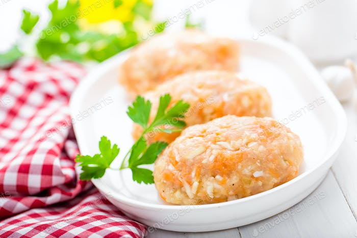 Raw, uncooked meat cutlets with vegetables, baby food