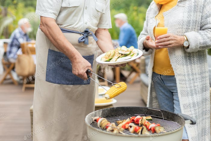 Garden party with grill for seniors