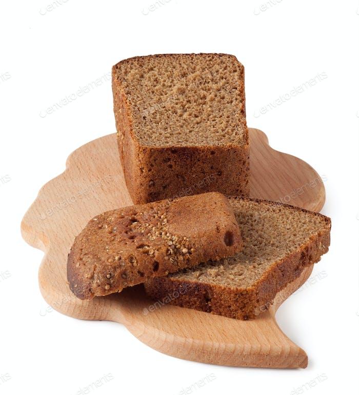 Rye bread on a board