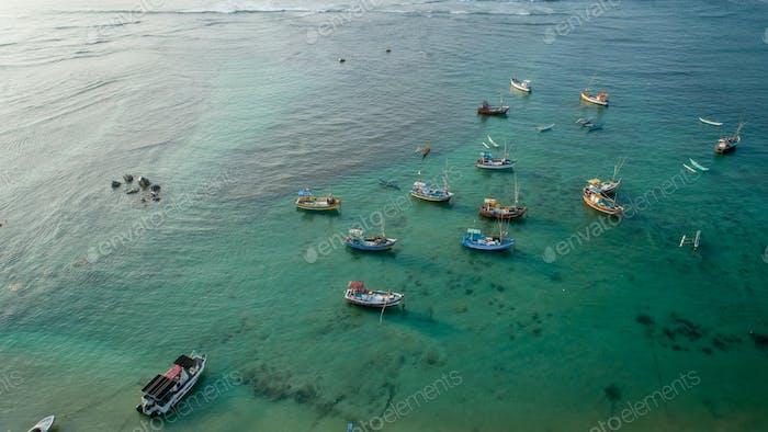 aerial of fishing boats at sea,Sri Lanka