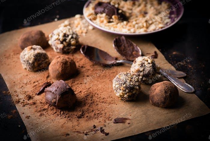 Assorted dark chocolate truffles