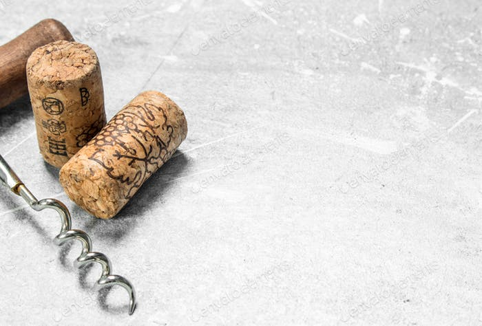 Corkscrew and corks.