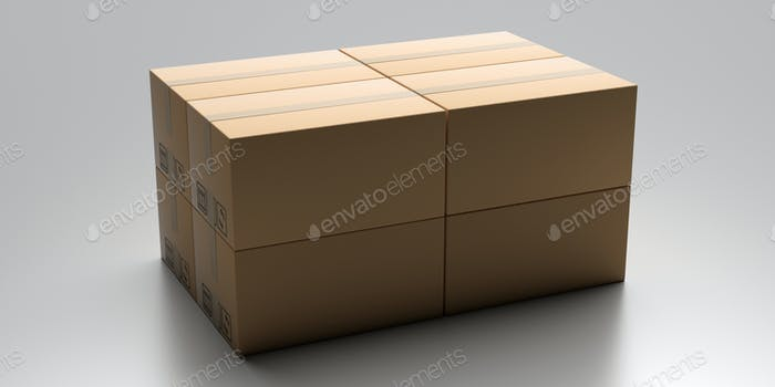 Cardboard packages stack on gray industrial floor.
