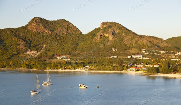Caribbean Bay With Boats And Hills, Antigua