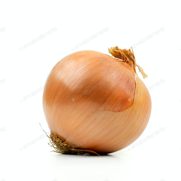 Ripe yellow onion on a white background