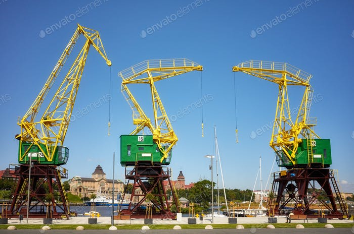 Port cranes at Szczecin boulevards, Poland