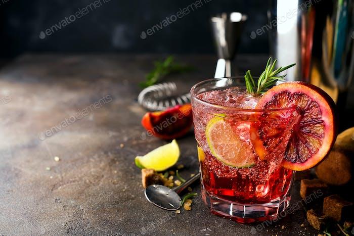 Closeup glass of greyhound cocktail decorated with grapefruit