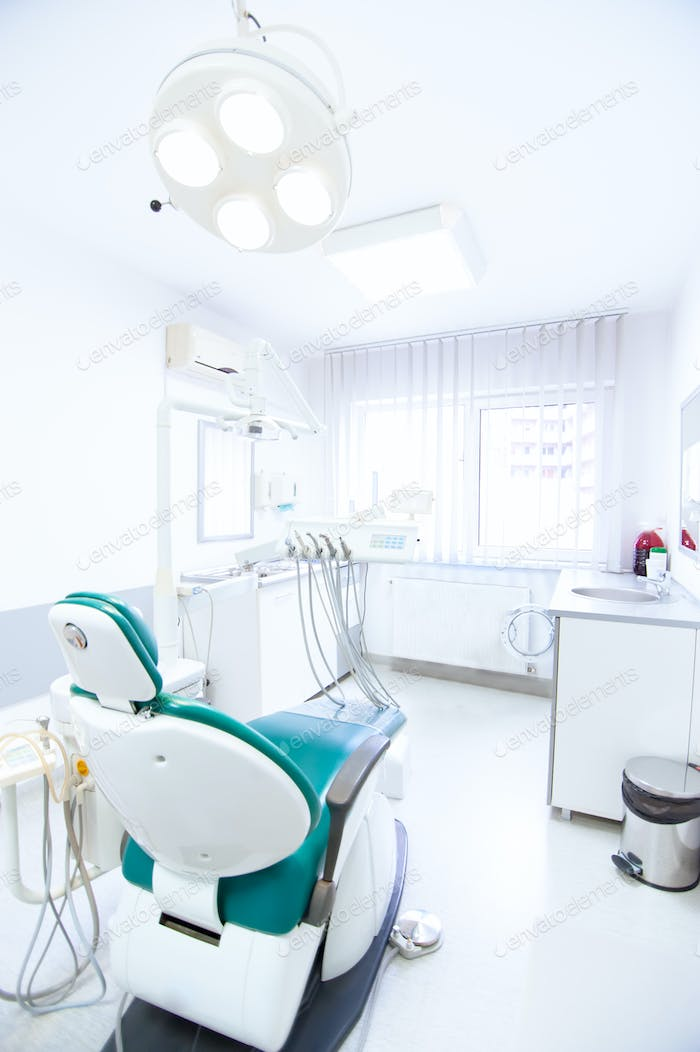 Dentist tools and professional dentistry chair waiting to be used