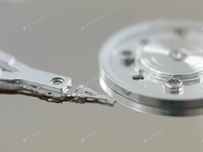 Component parts of opened hard disk drive
